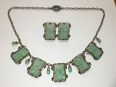 Vintage Chinese Export Carved Pierced Jade Drop Dangle Necklace & Earrings