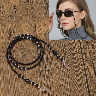 Black Beaded Eyeglass Chain Cord Reading Glasses Eyewear Spectacles Holder A