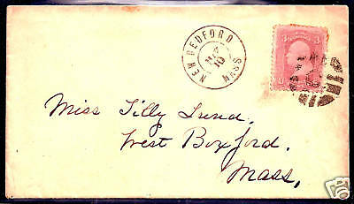 """US #65 w/ Fancy """"C-IN-GRID"""" Cancel ~ S-E #GE-P 27.....on New Bedford, Mass Cover"""