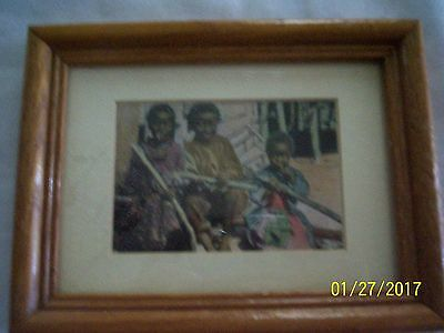 Framed Postcard, Piccaninnies at Lunch, Color, Ralphael Tuck & Sons- 1905
