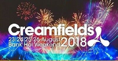 Creamfields 2018 x GOLD 2 Day Camping Tickets and Parking Pass with HOT MEALS
