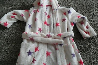 1bc09b6622275 Girls Hooded Dressing Gown age 3-4y M S White with pink   purple star  pattern