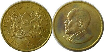 elf Kenya 5 Cents 1966 Lion