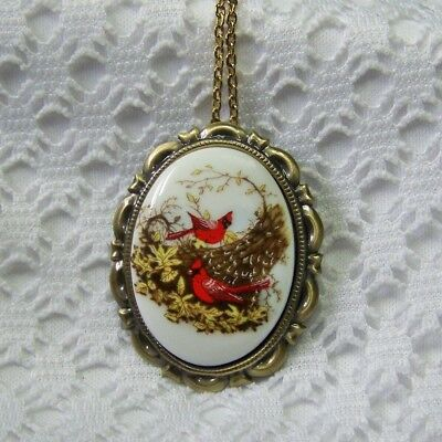 Porcelain Cardinals Cameo Brooch & Necklace, Autumn Antique Gold Pendant Pin