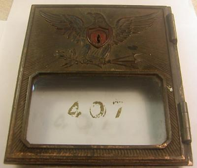 Antique Post Office Box Door #407-Eagle Design-No Key But Door Operates-Cool