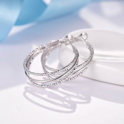 Women White Gold Filled Large Round Circle Hoop Earrings Antique Party Jewelry
