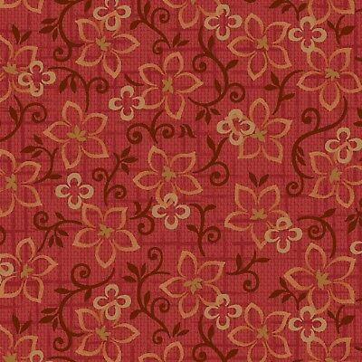Material Fabric by the 1//2 yard Sewing Quilting Crafting Orange Leaves Flowers