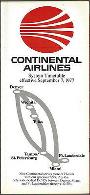 Continental Airlines system timetable 9/7/77 [7084]