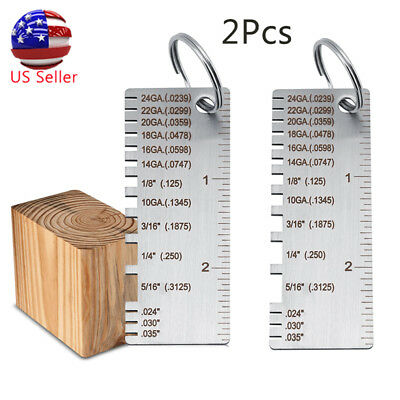2Pc Wire Gauge Thickness Measuring Tool Wire/Sheet Metal Gage Measurement Plate