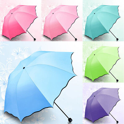 UPF 50+ Anti UV  3 Folding Parasol Sun Rain Umbrella Encounter Water Show Flower