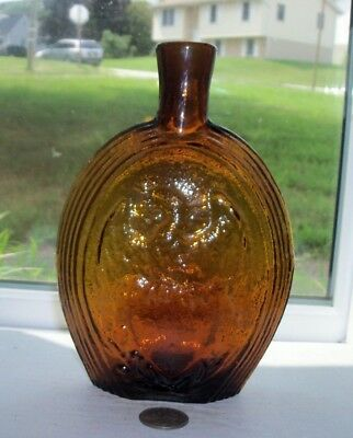 Very Nice Amber Clevenger Flask With Flag & Eagle Embossed, For Our Country