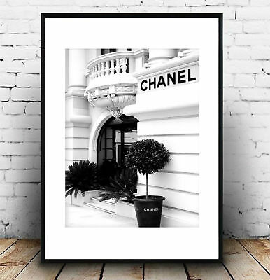 coco chanel black and white front store photography print/poster
