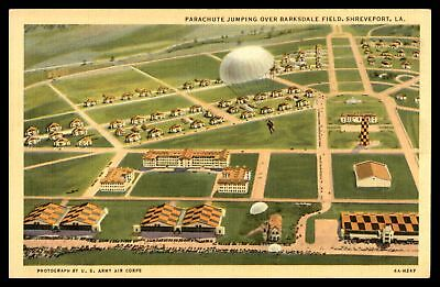Parachute Jumping Over Barksdale Field Shreveport La By Ct Art Colortone Postcar