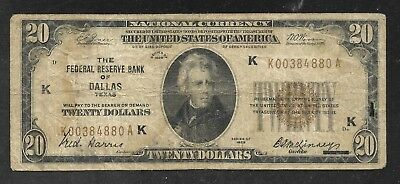 US - Fed. Res. Bank Note - $20 National - Scarce Dallas Fed. - 1929 - FINE