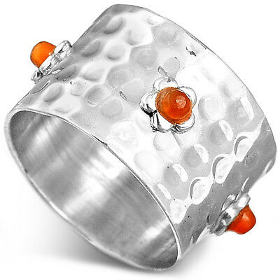 Solid Sterling Silver 925 Carnelian Flower Hammered Ring with Stone Women Size 6