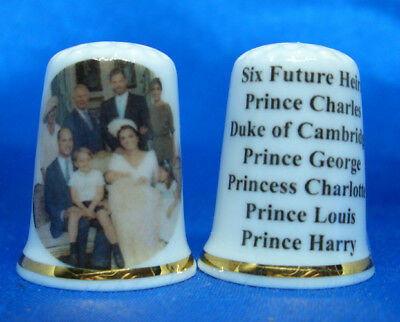 Birchcroft Porcelain Thimble - Six Future Heirs To The Throne -- Free Dome Box