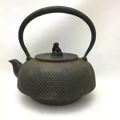 SIGNED Antique / Vintage Cast Iron Oriental  Tetsubin Tea Kettle Foo Dog Finial