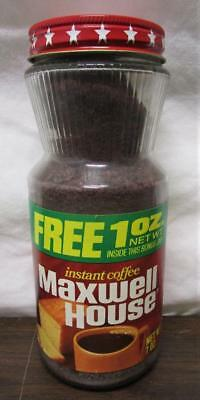 VINTAGE NOS MAXWELL HOUSE INSTANT COFFEE 7oz GLASS JAR METAL LID SEALED