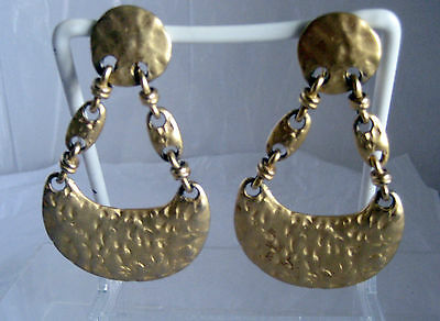 Gold Tone Hammered Gold Type Earrings Clip Ons Long Dangling