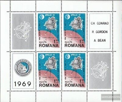 Romania block74 (complete issue) used 1969 Moon Landing of Apol
