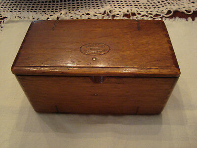 Antique sewing machine parts folding wooden box with assorted parts