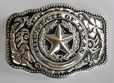 New Western Star State Of Texas Silver Rodeo Flag Cowboy Belt Buckle
