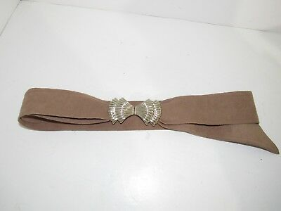 Mimi Din Belt Buckle Silvertone Layered Shell Design & Taupe Faux Suede Belt