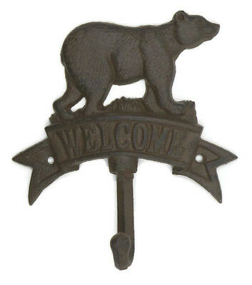 Welcome Coat Hook Plaque Rustic Bear Log Cabin Lodge Decor Wall Mount