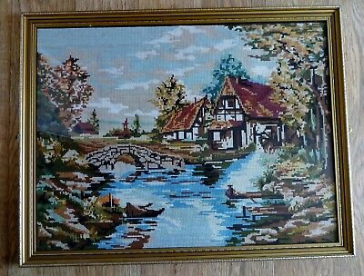 """VINTAGE  LARGE FRAMED NEEDLE WORK TAPESTRY EMBROIDERY PICTURE 27"""" x 21""""  c. 1993"""