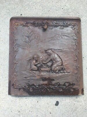 Antique Cast-Iron Fire From Summer Cover Lady & Angel In Front Of A Fire