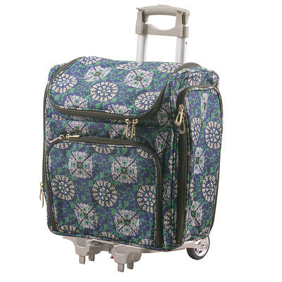 Couture Creations Tote - Craft Rolling Travel Trolley - Blue Damask (2pc)