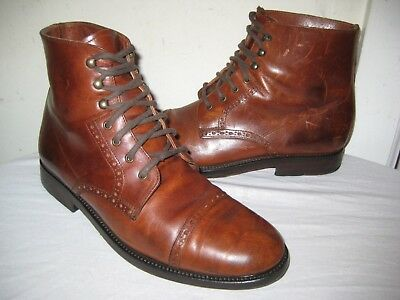 Thom Mcan Vintage Leather Brown Oxford Boots Mens Shoes Size 7.5 Made In  ITALY. b837666b0c4