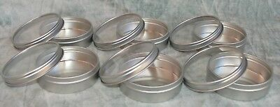 6-Round Metal Tins with Slip Cover Lids Clear View Tops SMALL 2 OZ size
