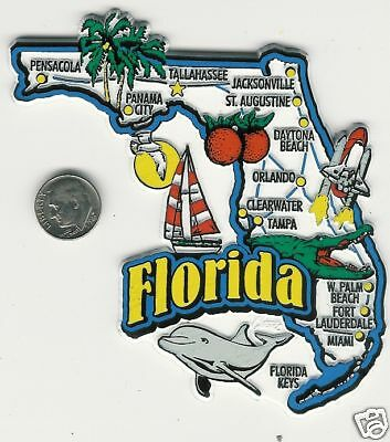 Florida  Fl Jumbo State  Map  Magnet   7 Color  From 51 Jumbo Map Magnet Series