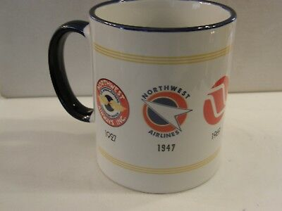 Northwest Airlines 5 Vintage Nwa Logos Coffee Cup Mug Delta Airplane Pilot Fa