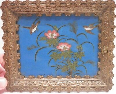OLD antique Chinese Fine Art Bronze  Brass Inlaid Cloisonne Plaque artwork China