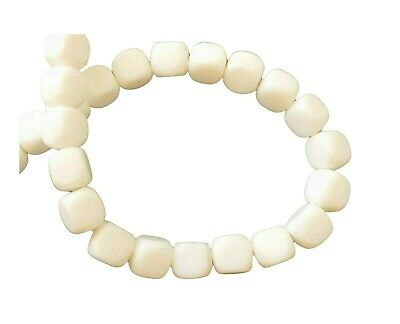 56 Glass Opaque Solid White 7x6mm Rounded Cube Square Strand Beads