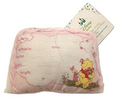 Disney Winnie the Pooh Pink Baby Girl Birth Announcement Pillow