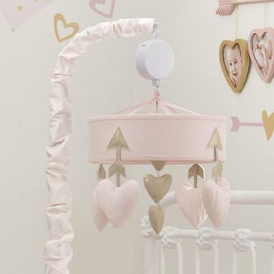 Lambs & Ivy Baby Love Heart Musical Mobile -  Pink/Gold
