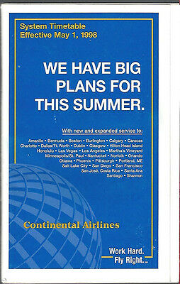 Continental Airlines system timetable 5/1/98 [308CO] Buy 2 Get 1 Free