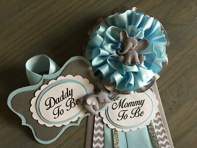 Mommy and Daddy to Be corsage set, Elephant,Blue,Gray,Baby Shower,Pin, Sash