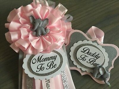 Mommy and Daddy to Be corsage set,Elephant,Pink,Gray,Silver,Baby Shower,Pin,Sash