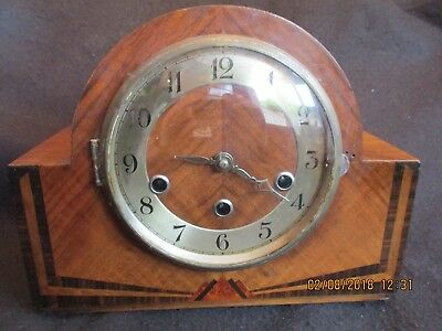ART DECO WESTMINSTER CHIMES MANTEL CLOCK Complete with weight & key c.1930's