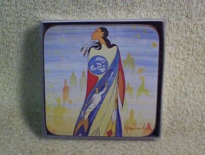 "MAXINE NOEL ""NOT FORGOTTEN"" New Set 4 Coasters SIOUX ARTIST Designed in Canada"