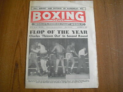 BOXING NEWS - OCTOBER 5th 1956 - EZZARD CHARLES, DAVE CHARNLEY