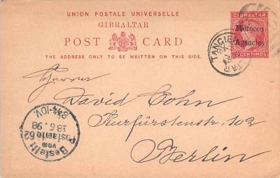 1898 Gibraltar Morocco Agencies Postal Card to Berlin, Railroad Cancel