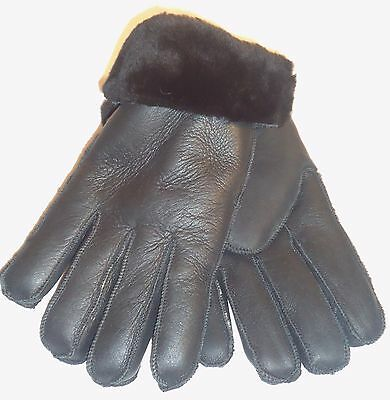 Women's Handmade Winter Genuine Black Sheepskin Leather Shearling Fur Gloves  S