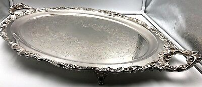 "Wallace Baroque Silverplate Footed Waiter 234F Serving Tray 29"" x 18"" 1941"