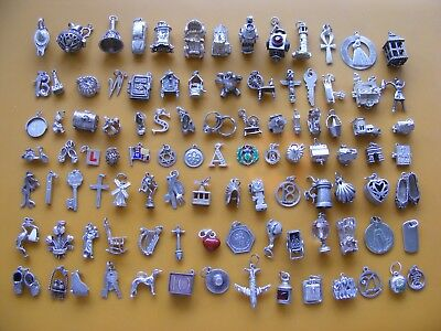 Z  Vintage Sterling Silver Charm Charms Lamp Car Church Teddy Rings Crown Boot
