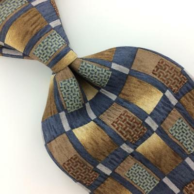 COCKTAIL COLLECTION USA TIE BROWN Gray Gold GEOMETRIC Silk Necktie Ties I10-266
